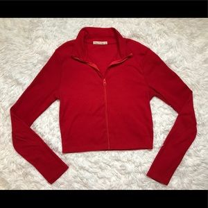 Red Ribbed Zip Up Collared Top